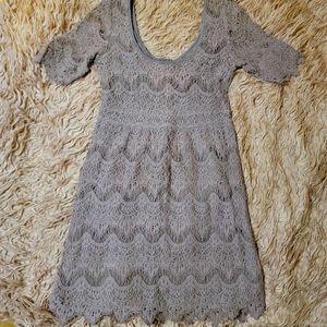 Boho Dusty Purple Mauve Eyelash Crochet Lace Dress